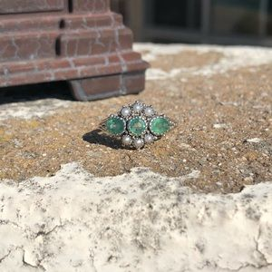 Jewelry - Emerald Natural Seed Pearl Sterling Silver Ring 8